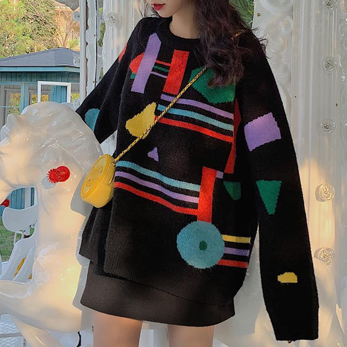 itGirl Shop CONTRAST ABSTRACT PRINT OVERSIZED KNIT SWEATER