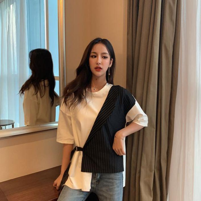 itGirl Shop CONTRAST STITCHED STRIPED IRREGULAR WHITE T-SHIRT