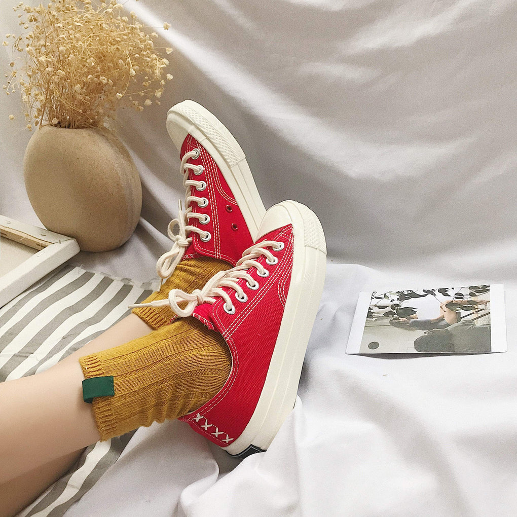 itGirl Shop CONTRAST STITCHING WHITE SOLE SNEAKERS