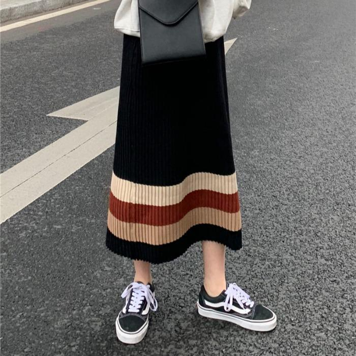 itGirl Shop CONTRAST STRIPES HIGH WAIST LONG RIBBED SKIRT