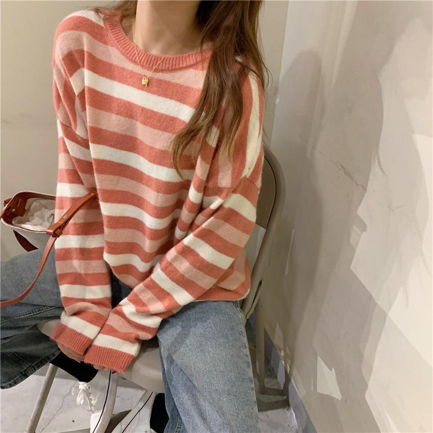 itGirl Shop CONTRAST STRIPES KOREAN AESTHETIC KNITTED SWEATER