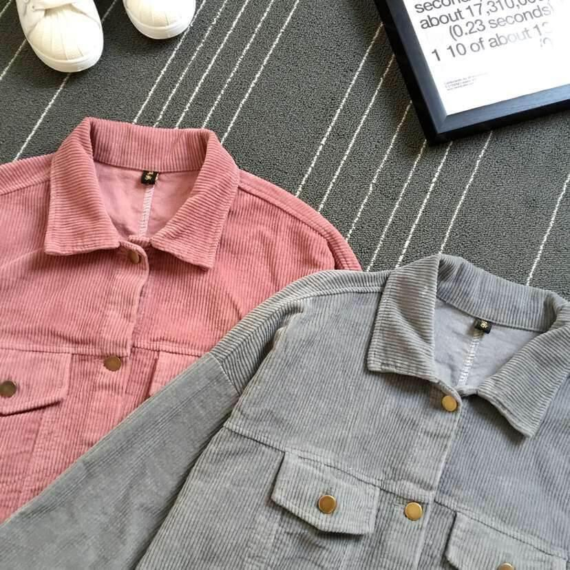 itGirl Shop CORDUROY GRAY PINK COLLAR OUTWEAR