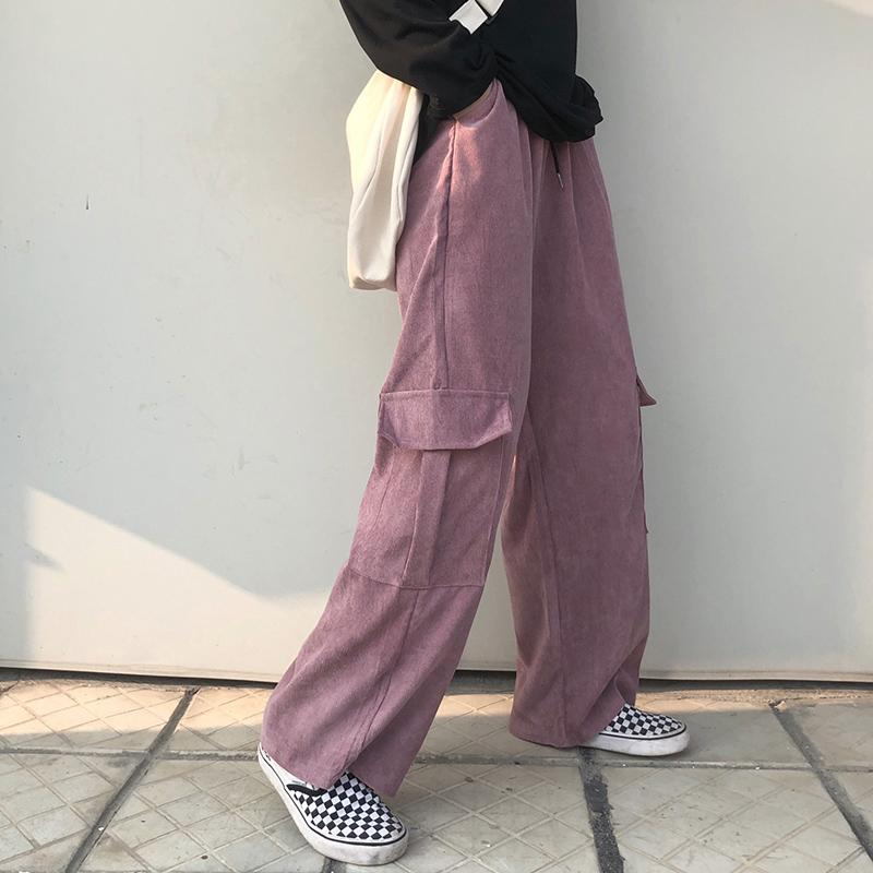itGirl Shop CORDUROY INTERNET GIRL OVERSIZE PANTS WITH POCKETS