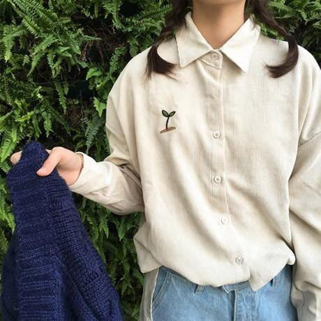 itGirl Shop CORDUROY PLANT EMBROIDERY LONG COLLAR SHIRT