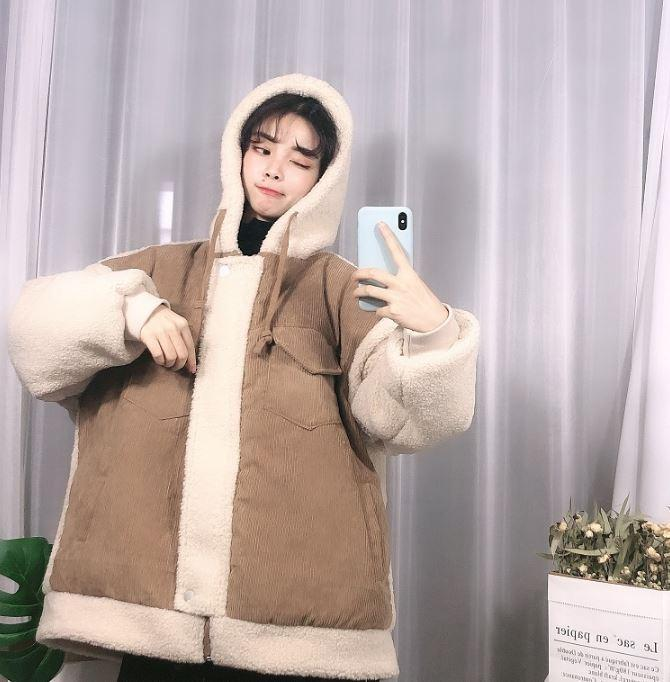 CORDUROY PLUSH SLEEVES WINTER HOODED OVERSIZED JACKET