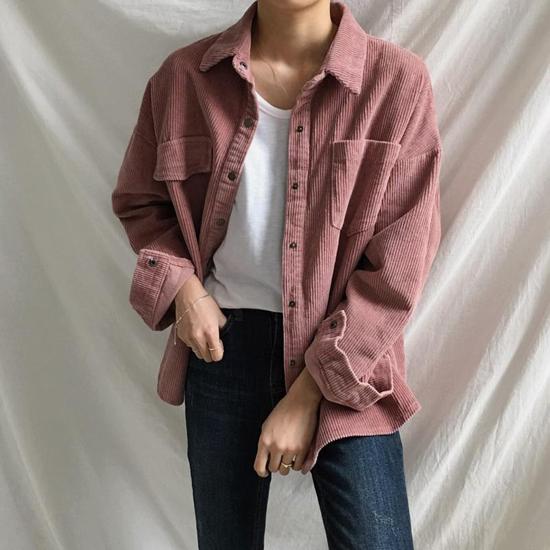 itGirl Shop CORDUROY VINTAGE AESTHETIC POCKETS LOOSE SHIRT