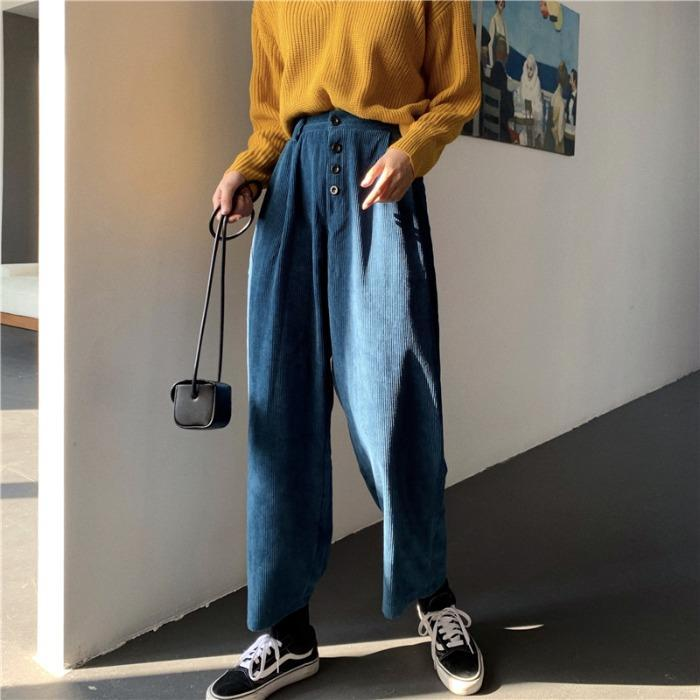 itGirl Shop CORDUROY VINTAGE HIGH WAIST OVERSIZED WIDE LEG PANTS