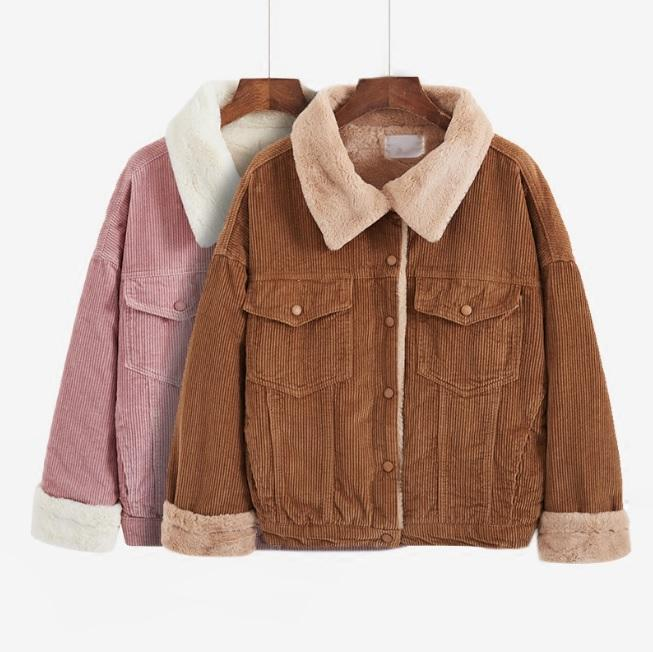 itGirl Shop CORDUROY WARM COLLAR FAUX PLUSH BUTTONS PINK KHAKI GREEN COAT JACKET Aesthetic Apparel, Tumblr Clothes, Soft Grunge, Pastel goth, Harajuku fashion. Korean and Japan Style looks