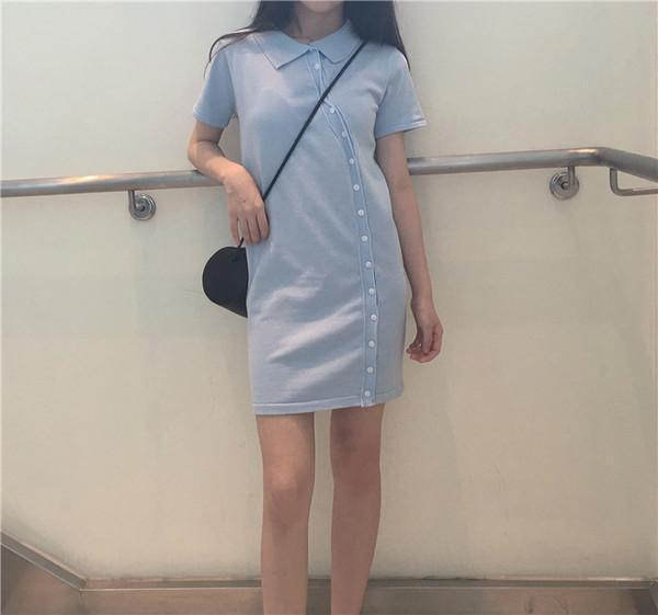 itGirl Shop COTTON COLLAR SIDE BUTTONS FRONT LINE DRESS