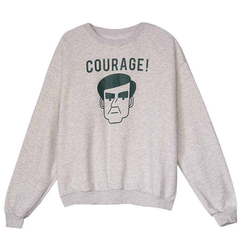 itGirl Shop COURAGE FACE PRINT ROUND NECK LOOSE SWEATSHIRT