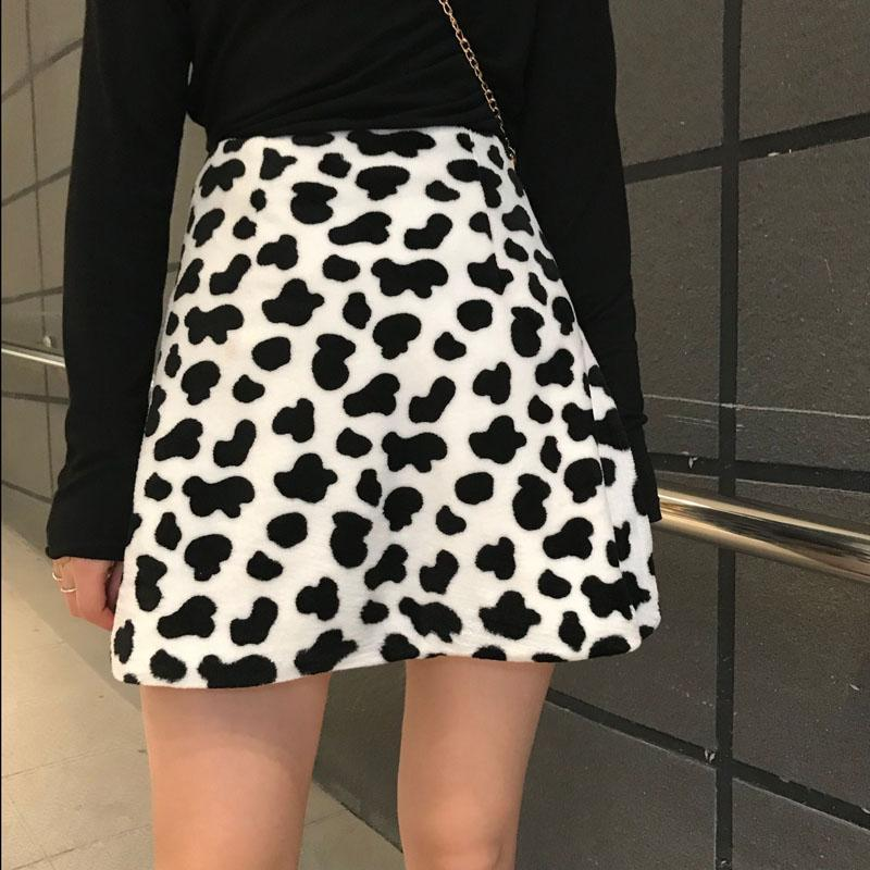 itGirl Shop COW PRINT SOFT PLUSH HIGH WAIST MINI SKIRT
