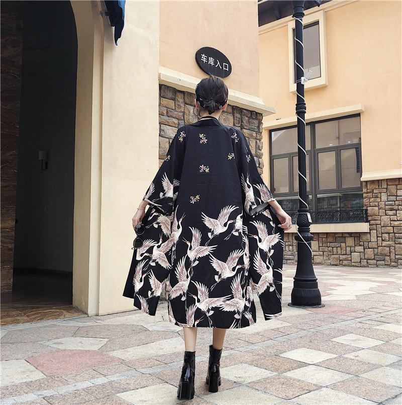 CRANES PRINT LONG JAPANESE AESTHETIC BLACK KIMONO COAT