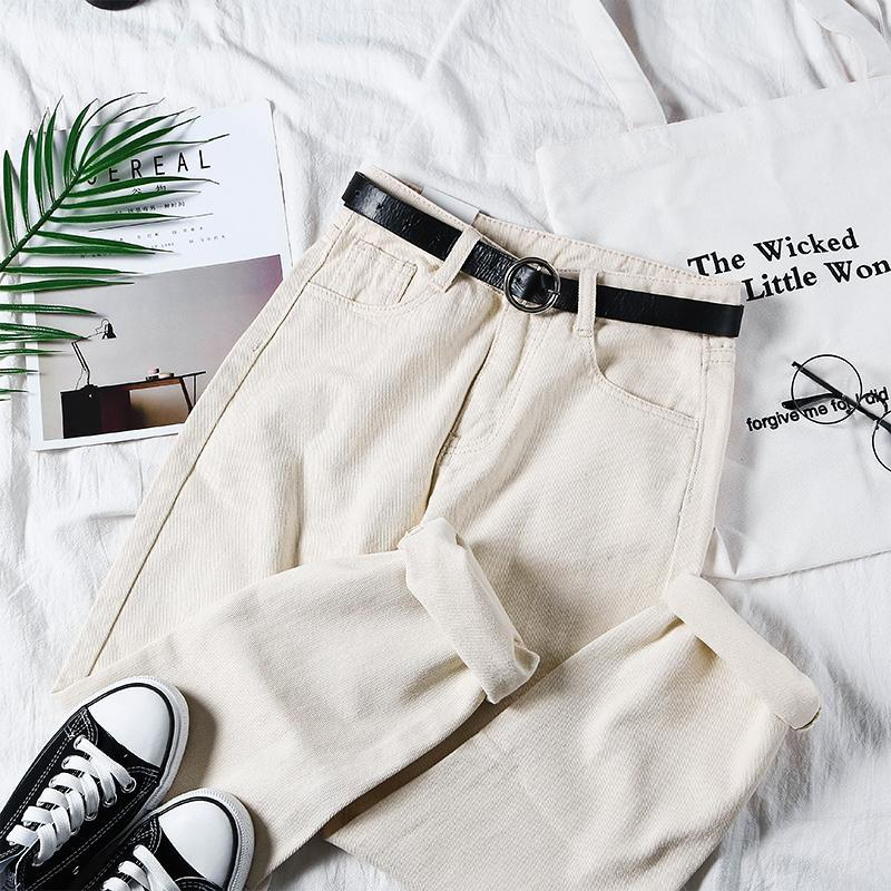 itGirl Shop CREAMY WHITE RETRO STRAIGHT LOOSE HIGH WAIST PANTS