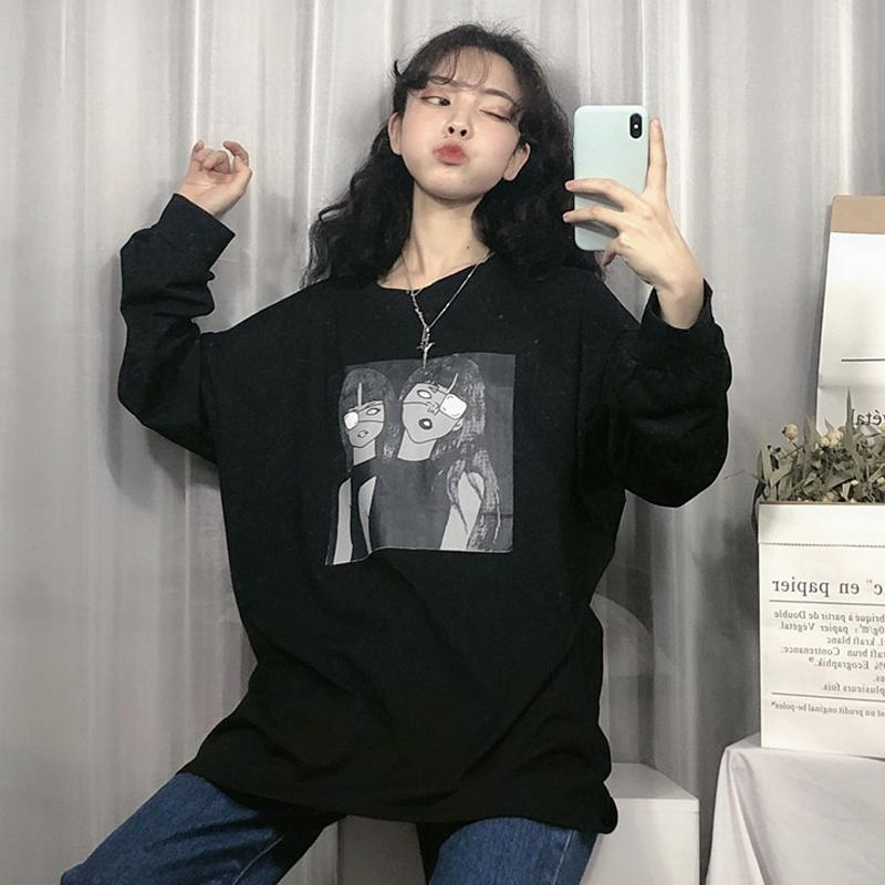 itGirl Shop CREEPY CARTOON GIRLS BLACK WHITE LONG SLEEVED SHIRT