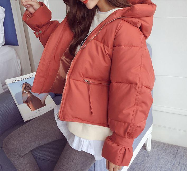 itGirl Shop CROPPED PUFF PADDED HOOD ZIPPER OUTWEAR JACKET