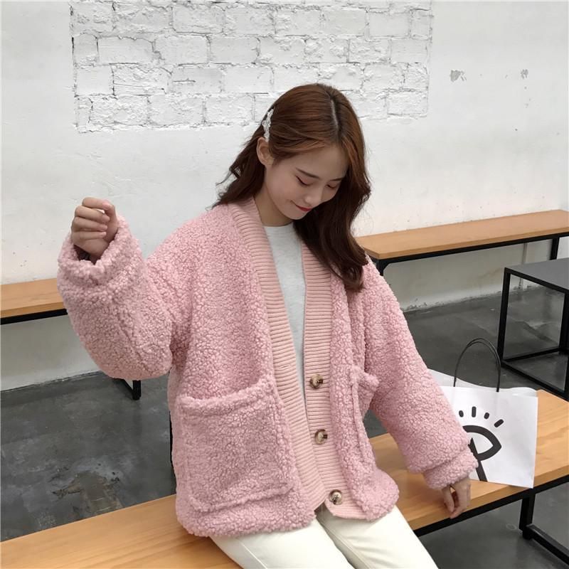 CURLY BUTTONS CARDIGAN PINK BEIGE BLACK FLUFFY JACKET
