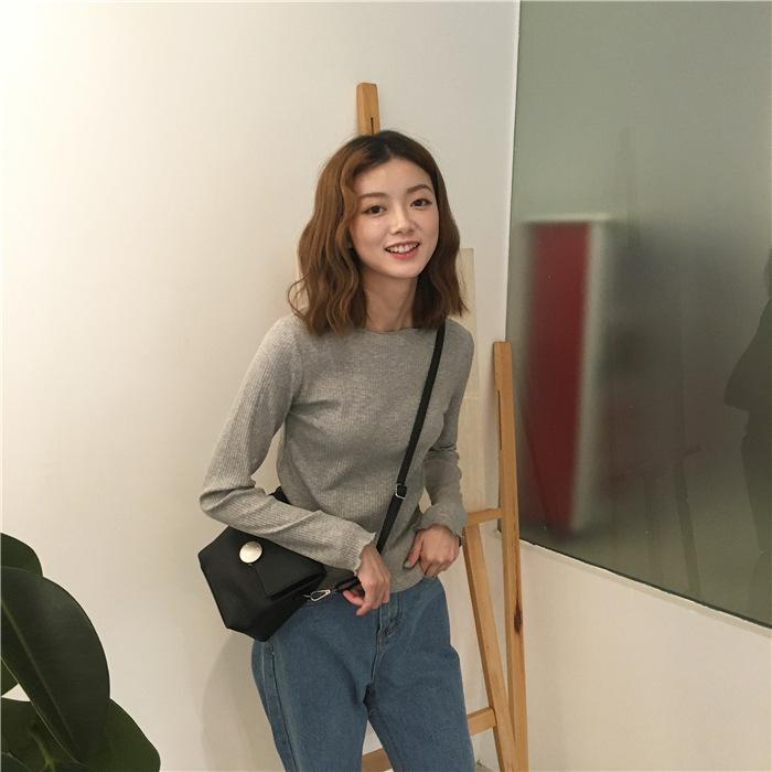 itGirl Shop CURLY EDGE BASIC COLORS LONG SLEEVE SLIM KNIT BLOUSE