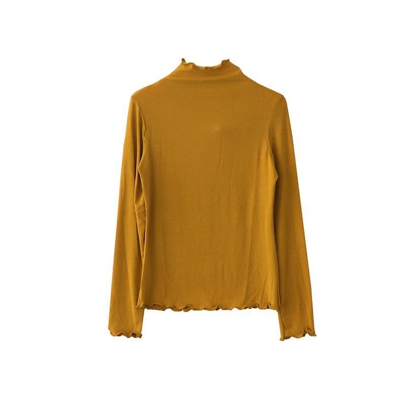 itGirl Shop CURLY EDGE HIGH NECK LONG SLEEVE SIMPLE COLORS COTTON SLIM BLOUSE Aesthetic Apparel, Tumblr Clothes, Soft Grunge, Pastel goth, Harajuku fashion. Korean and Japan Style looks