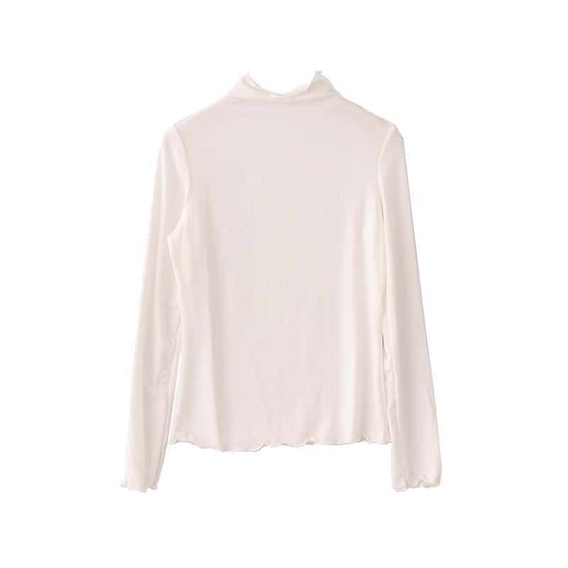 itGirl Shop CURLY EDGE HIGH NECK LONG SLEEVE SIMPLE COLORS COTTON SLIM BLOUSE