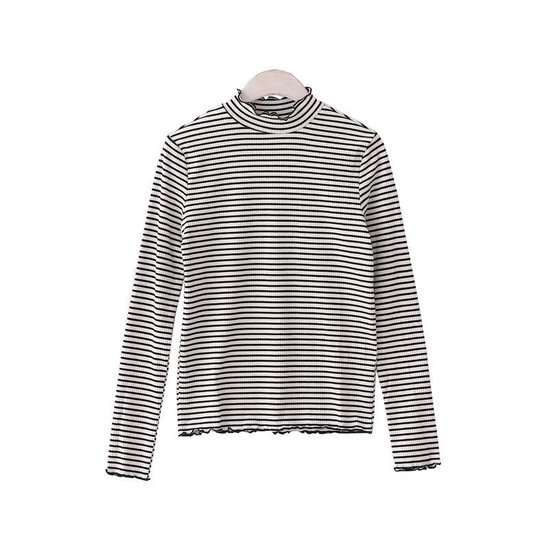 itGirl Shop CURLY EDGE HIGH NECK LONG SLEEVE STRIPES COTTON SLIM BLOUSE