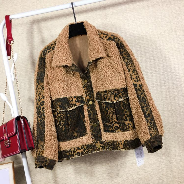itGirl Shop CURLY FAUX FUR DENIM LEOPARD PATTERN JACKET