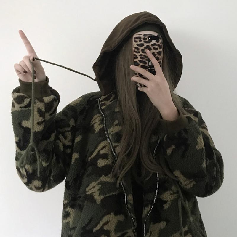itGirl Shop CURLY GREEN MILITARY COLOR OVERSIZE OUTWEAR JACKET