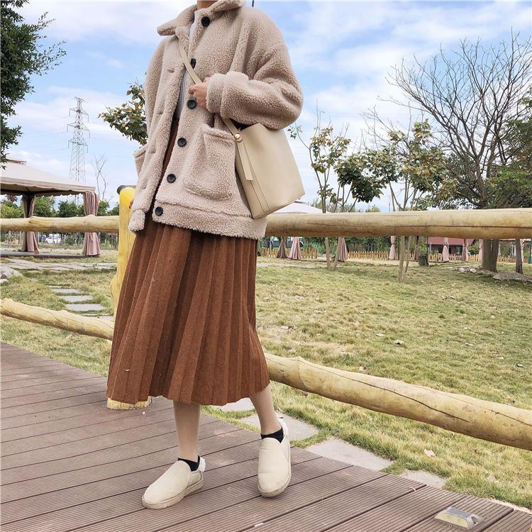 itGirl Shop CURLY PLUSH FAUX FUR FRONT BUTTONS COLLAR COAT BEIGE JACKET Aesthetic Apparel, Tumblr Clothes, Soft Grunge, Pastel goth, Harajuku fashion. Korean and Japan Style looks