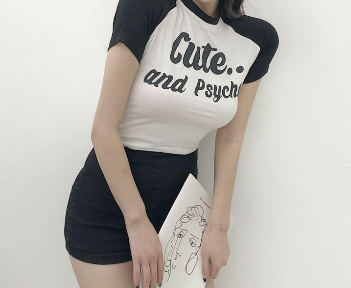 itGirl Shop CUTE AND PSYCHO LETTERS PRINT BLACK COLOR EDGE CROP TOP