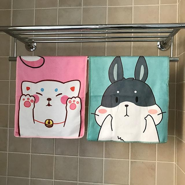 CUTE ANIME ANIMAL PRINTS SMALL FLEECE TOWEL