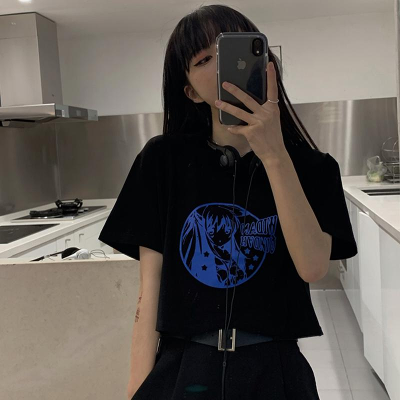 itGirl Shop CUTE ANIME GIRL PRINT BLACK CROPPED LOOSE T-SHIRT