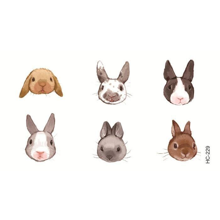 itGirl Shop CUTE BABY RABBITS SMALL TEMPORARY TATTOOS