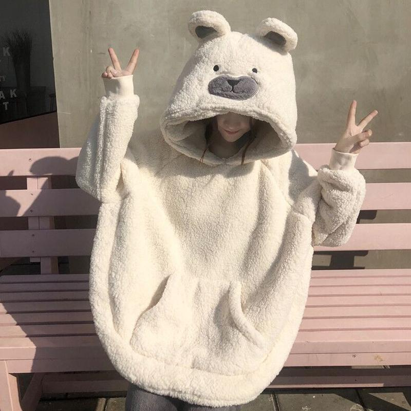 CUTE BEAR FACE PLUSH OVERSIZE PAJAMA SUIT
