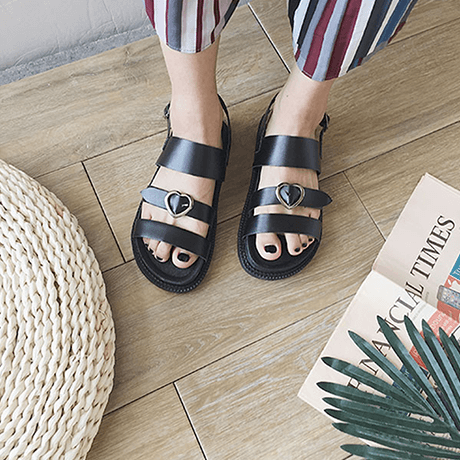 itGirl Shop CUTE BLACK PU LEATHER HEART BUCKLE SANDALS Aesthetic Apparel, Tumblr Clothes, Soft Grunge, Pastel goth, Harajuku fashion. Korean and Japan Style looks