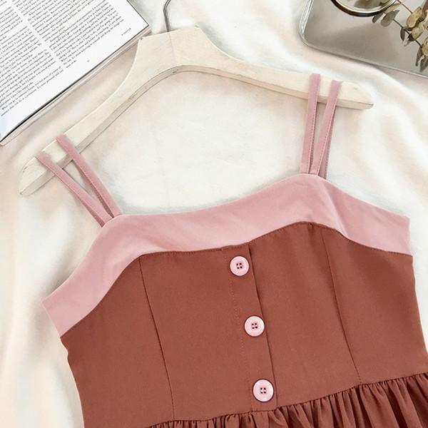 itGirl Shop CUTE CARAMEL PINK LINE SUMMER BUTTONS DRESS