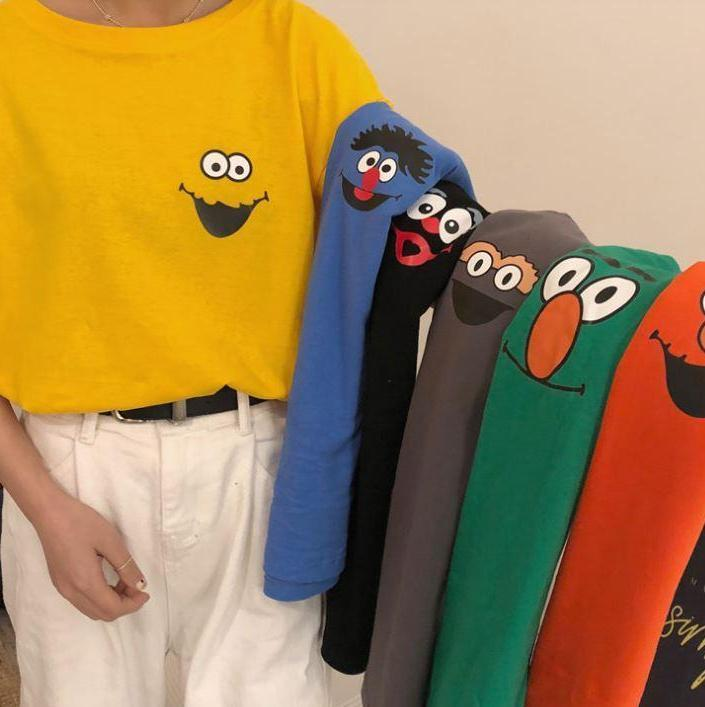 CUTE CARTOON PRINT COLORFUL OVERSIZED T-SHIRT