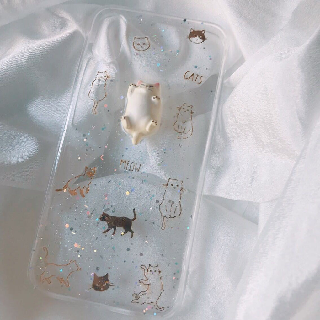 CUTE CAT SPARKLES TRANSPARENT IPHONE COVER CASE