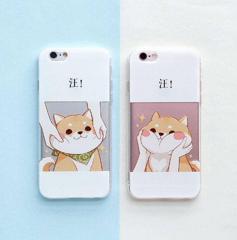 itGirl Shop CUTE CHEEKS SHIBA INU CARTOON DOG IPHONE CASE Aesthetic Apparel, Tumblr Clothes, Soft Grunge, Pastel goth, Harajuku fashion. Korean and Japan Style looks