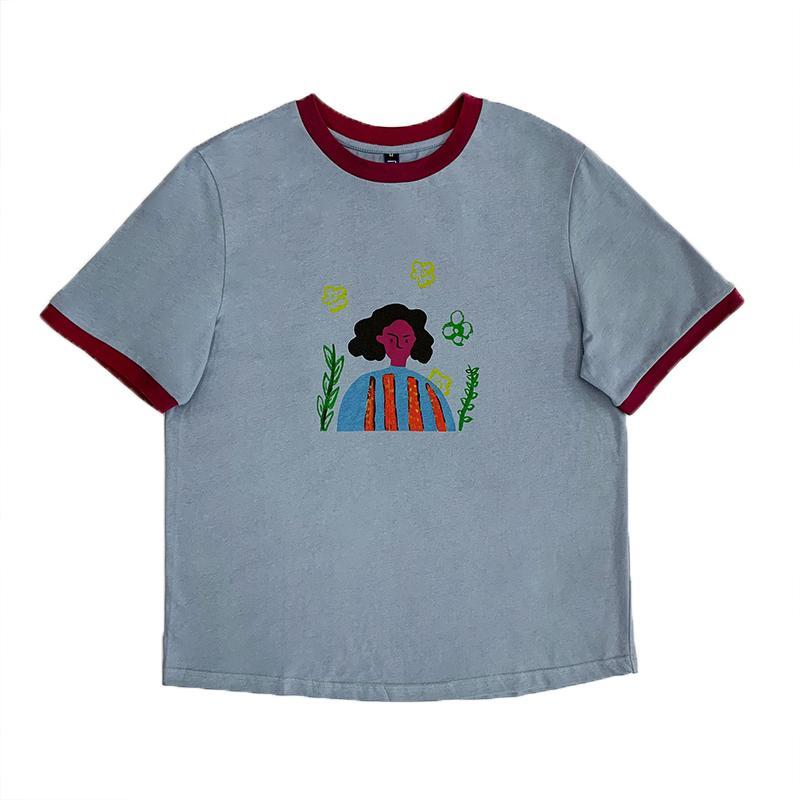CUTE CHILD'S DRAWING CARTOON PRINTED LOOSE T-SHIRT