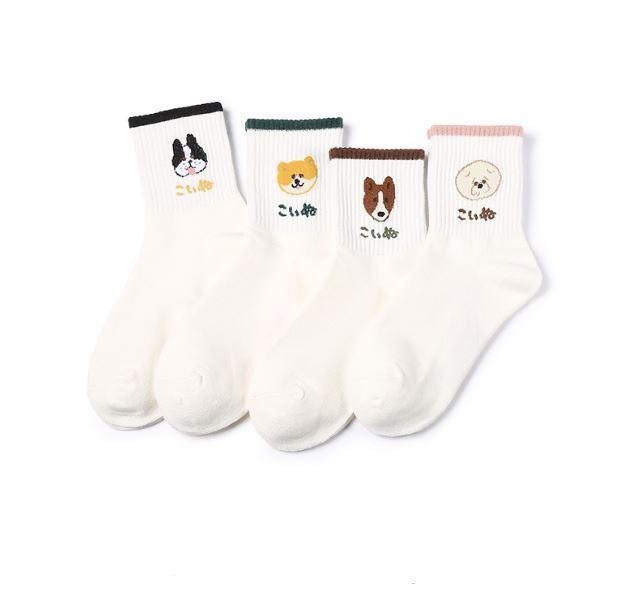 itGirl Shop CUTE DOG EMBROIDERY PETS SOCKS