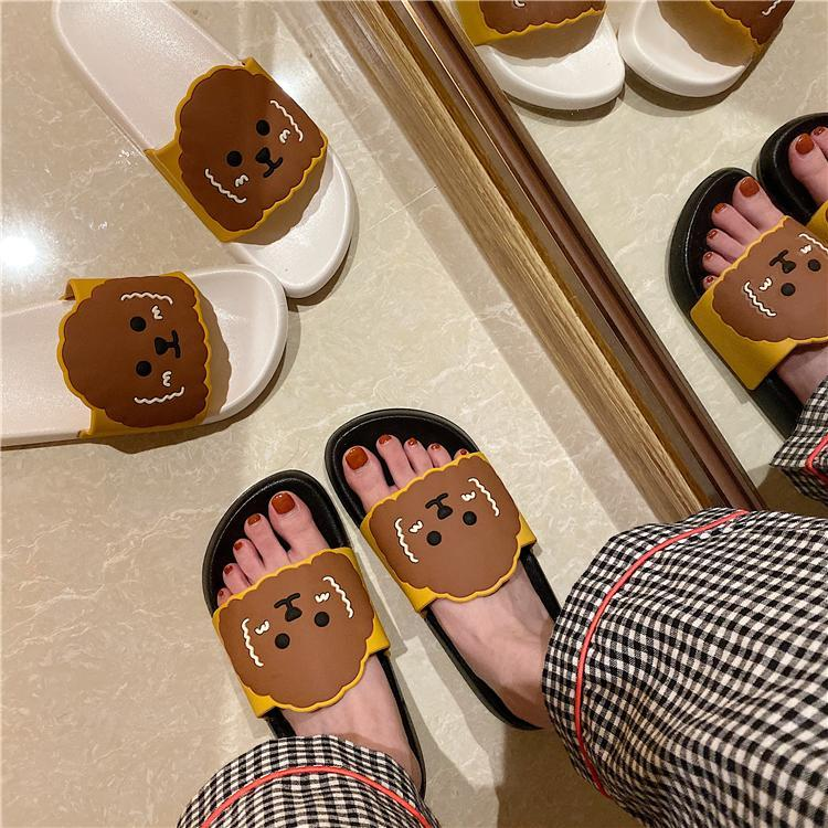 itGirl Shop CUTE DOG RUBBER FLAT BLACK WHITE SLIPPER SANDALS