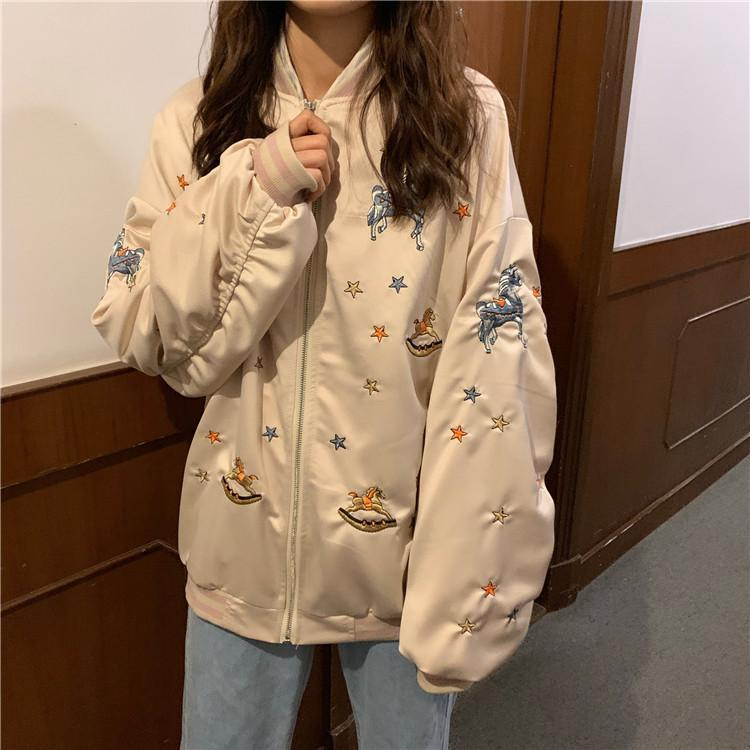 itGirl Shop CUTE EMBROIDERIES BLACK BEIGE SILKY BOMBER JACKET