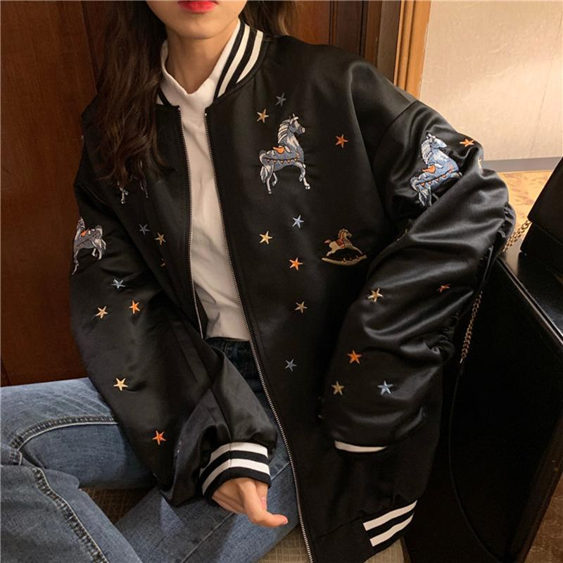 CUTE EMBROIDERIES BLACK BEIGE SILKY BOMBER JACKET