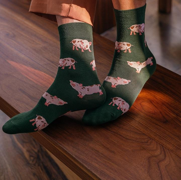 itGirl Shop CUTE FARM ANIMALS PATTERN PRINT LONG ANKLE SOCKS