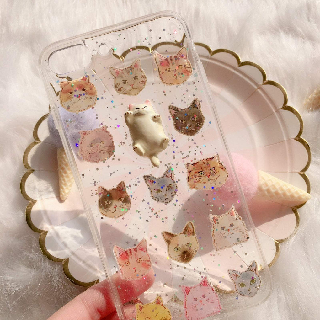 itGirl Shop CUTE FAT CAT SPARKLY PATTERN IPHONE COVER CASE