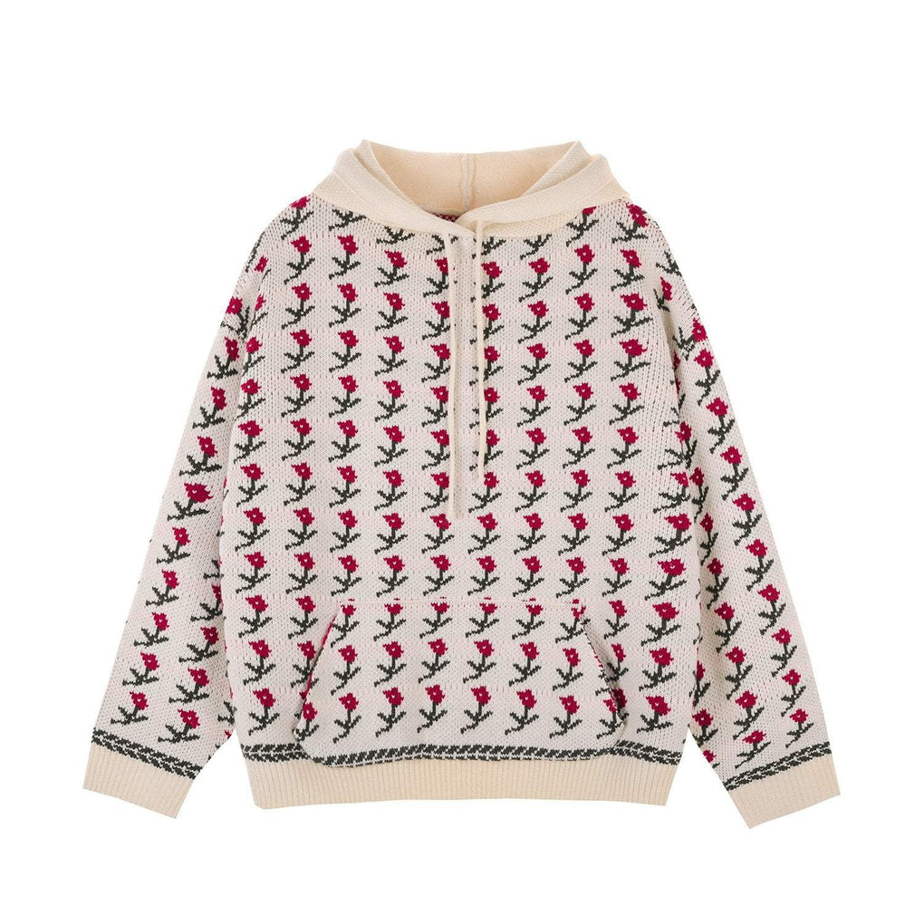 CUTE FLORAL PATTERN EMBROIDERY WHITE HOODED SWEATER