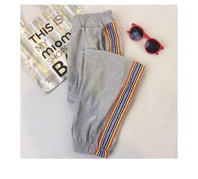 itGirl Shop CUTE GLITTER RAINBOW STRIPES ELASTIC WAIST SPORT STYLE PANTS