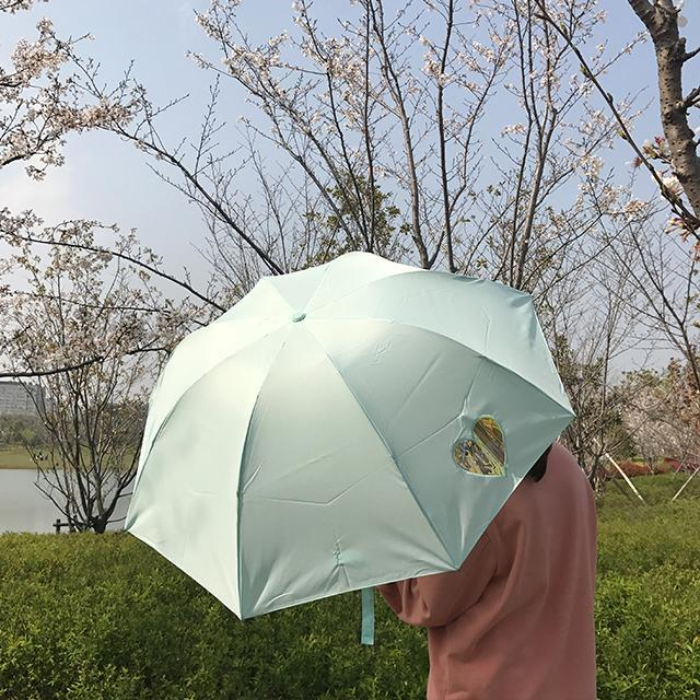 CUTE HEART SCREEN PINK BLUE MINT GREEN UMBRELLA