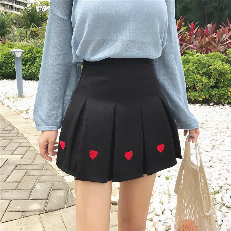 itGirl Shop CUTE HEARTS EMBROIDERY PLEATED BLACK PINK AESTHETIC SKIRT