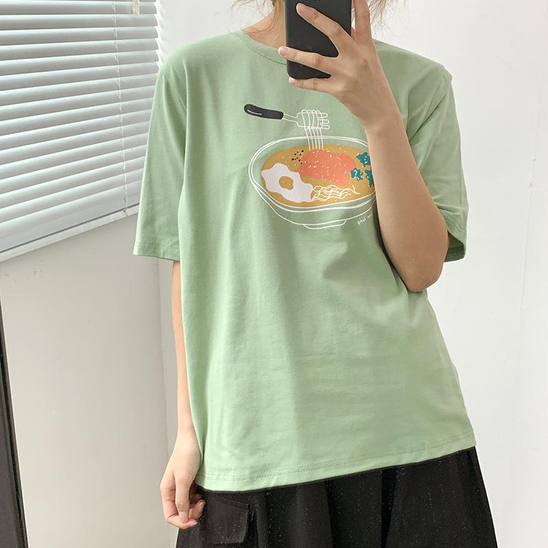 itGirl Shop CUTE JAPANESE FOOD PRINTED OVERSIZED T-SHIRT