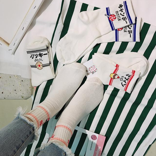 itGirl Shop CUTE JAPANESE LETTER PRINT CARTOON EMBROIDERY SOCKS